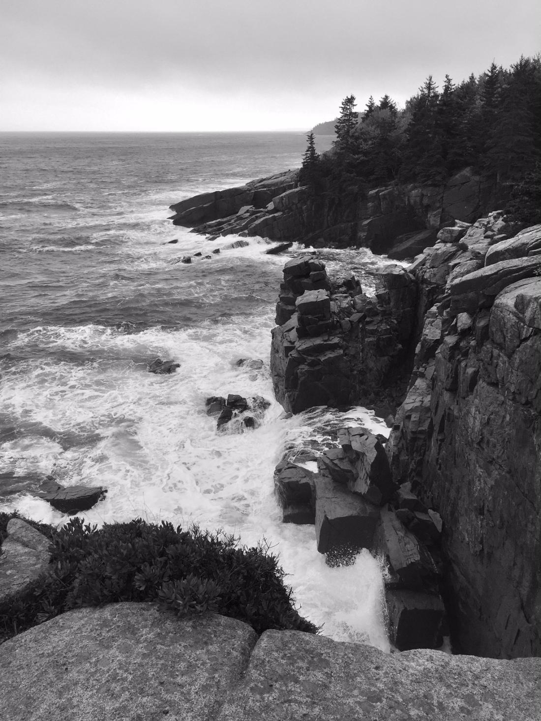 rocky shore b:w